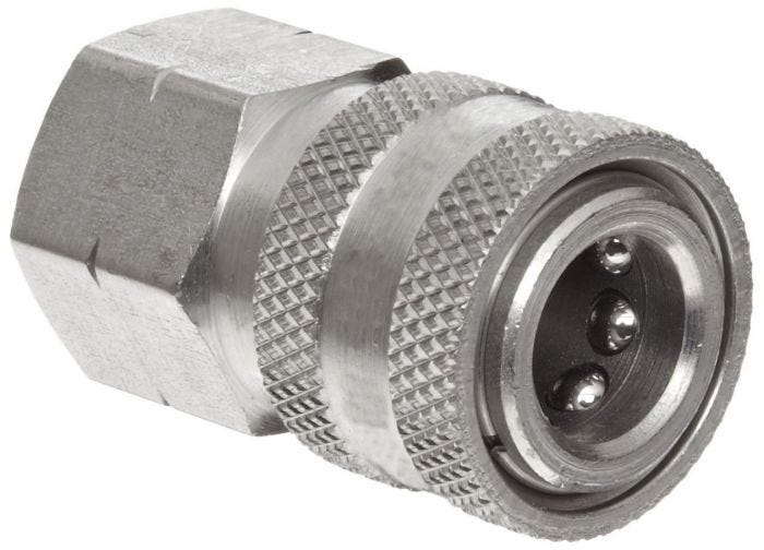 "Quick Coupler Socket - 3/8"" FPT - Stainless Steel - 6000 PSI"