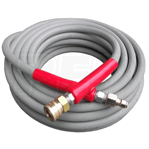 "100-Foot (3/8"") 6000 PSI Gray Non-Marking High Pressure Hose (Hot / Cold Water)"