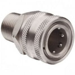 "Quick Coupler Socket - 3/8"" MPT - Stainless Steel - 6000 PSI"