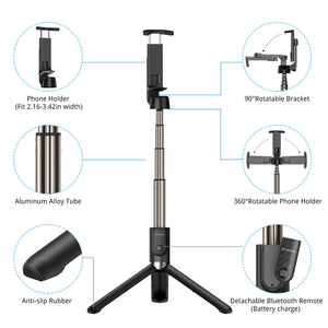 Bluetooth Selfie Stick Tripod with Bluetooth Remote - ATUMTEK