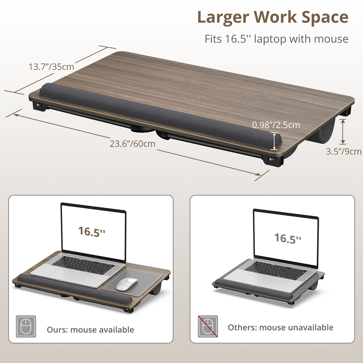 Laptop Bed Table with Memory Foam Cushion for WFH