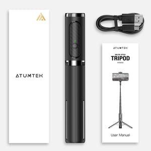 3 in 1 Aluminum Bluetooth Selfie Stick Tripod With Wireless Remote - ATUMTEK