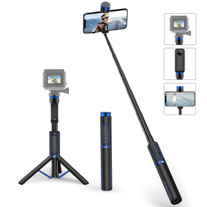 4 in 1 Aluminum Selfie Stick Tripod With Bluetooth Remote Screw Mount - ATUMTEK