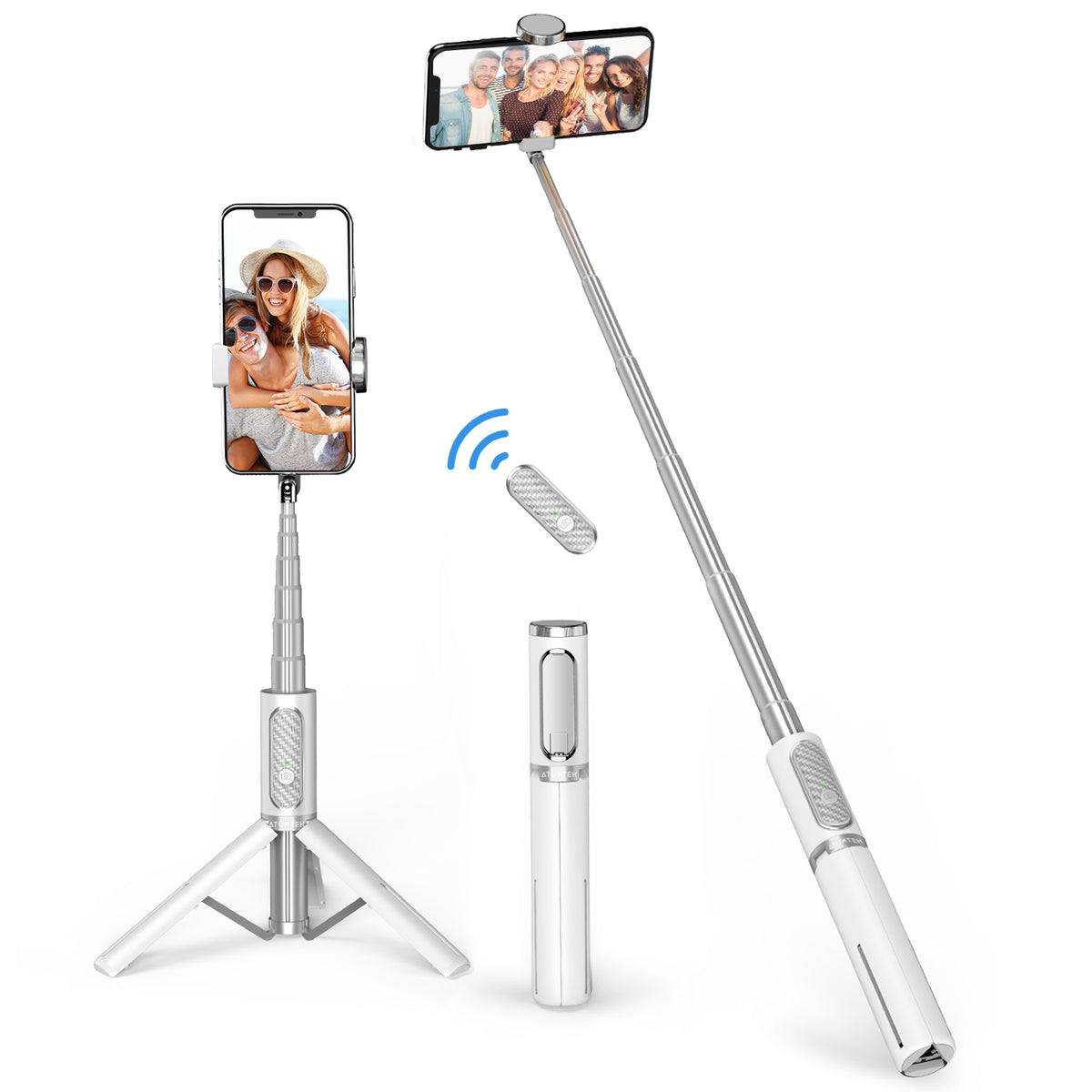 Bluetooth Selfie Stick Tripod 3 in 1 with Wireless Remote 31.3''