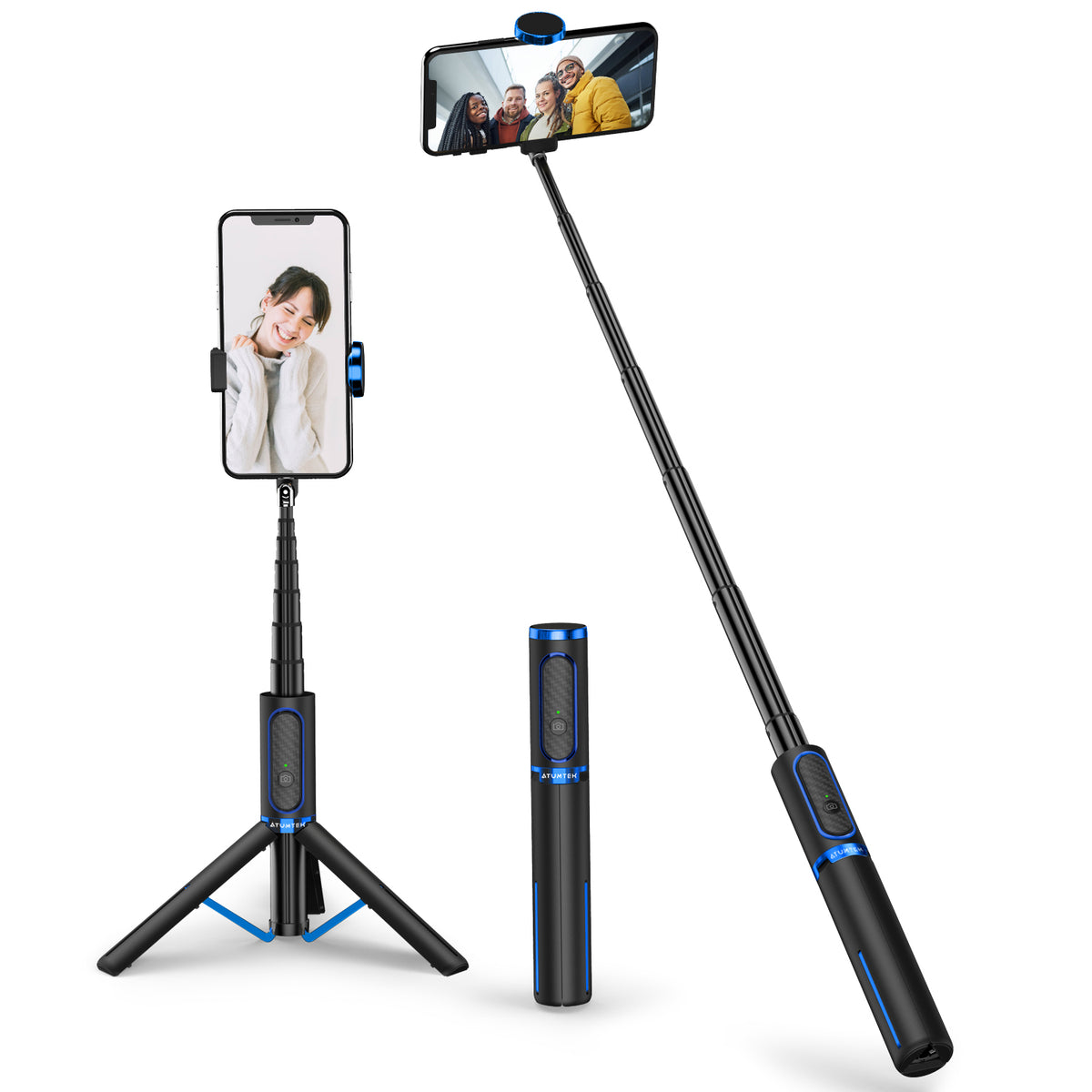 3 in 1 Bluetooth Selfie Stick Tripod with Wireless Remote BLUE-ATUMTEK