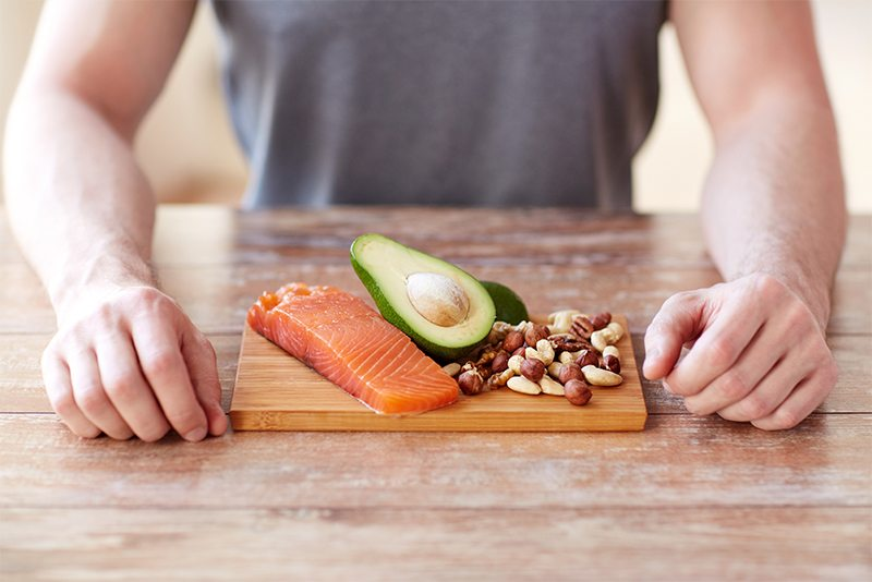 salmon avacado and nuts