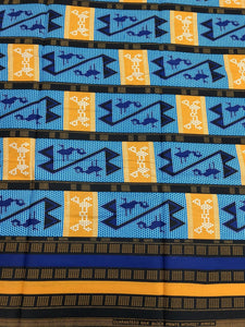 Blue and Golden Yellow Kente Print