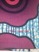 Turquoise and Fuschia Flower Pattern Ankara