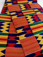 Blue, Yellow, Orange, and Red Multicolor Kente Print