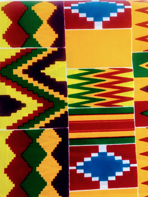 Green, Orange, Yellow, and Blue Multicolor Kente Print