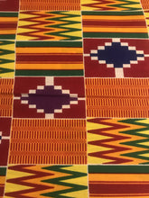 Orange, Green, and Blue, and Purple Multicolor Kente Print