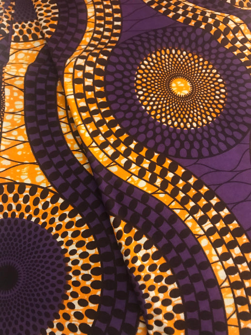 Purple, Golden Yellow, and Brown Ankara Print