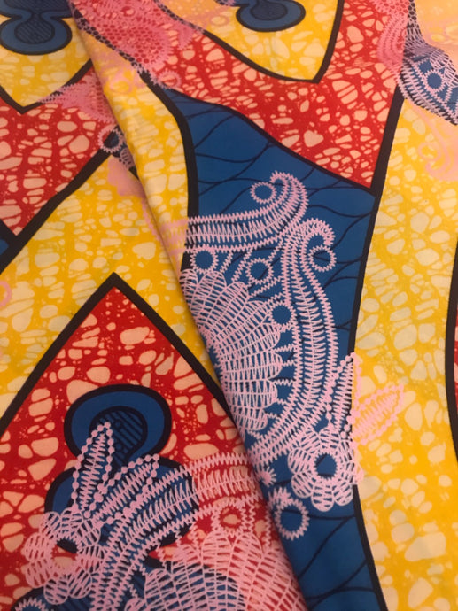 Red-Orange, Yellow, and Blue Print Ankara
