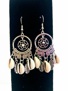 Silver Feather and Cowrie Shell Earrings