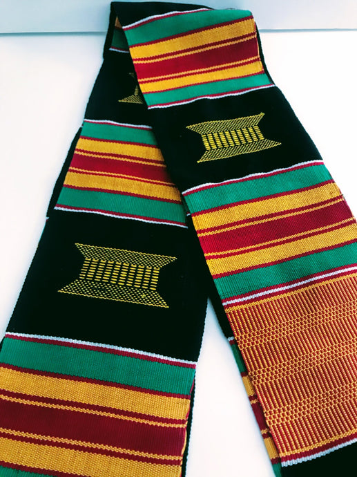 Kente Cloth Stoles - Black with Gold Crest
