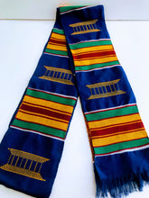 Kente Cloth Stoles - Kente and Blue with Gold Crest