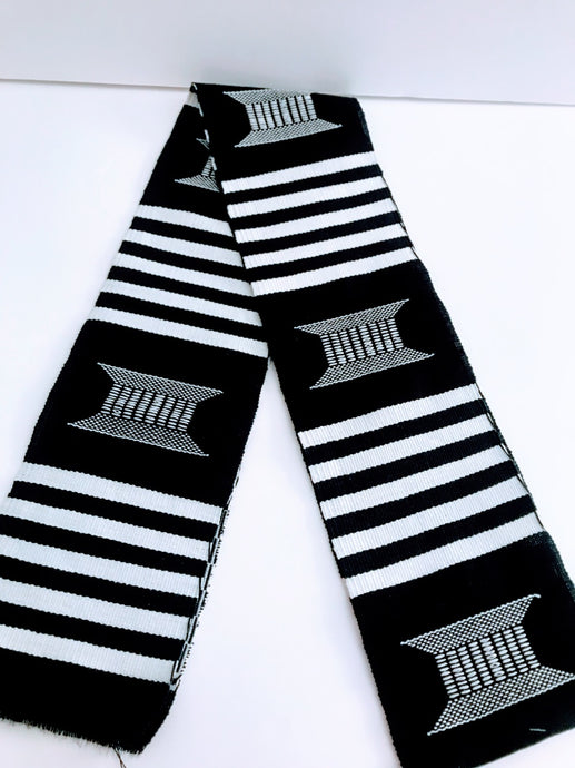 Kente Cloth Stoles - Black and White with White Crest