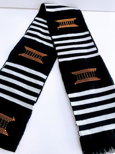 Kente Cloth Stoles - Black and Gold with Gold Crest