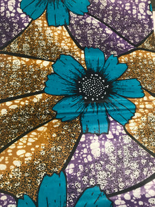Turquoise, Purple, and Brown Flowers Ankara