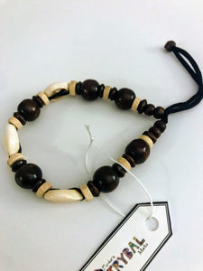 Cowrie Shell and Wood Bracelet - DB