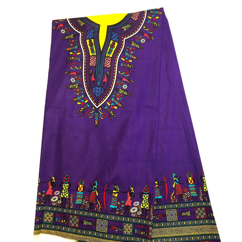 Dashiki - Angela Print 6 Yards - Purple