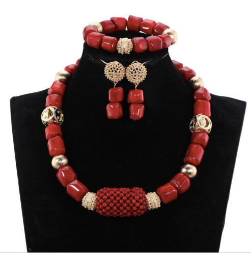 Nigerian Red Coral Bead Jewelry Set - 11