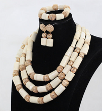 Nigerian White Coral Bead Jewelry Set - 12