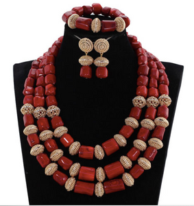 Nigerian Red Coral Bead Jewelry Set - 06