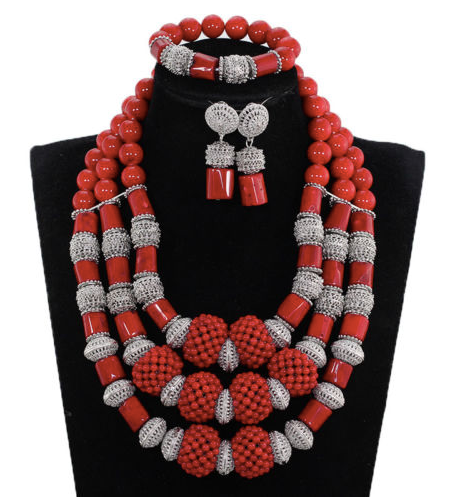 Nigerian Red Coral Bead Jewelry Set - 08