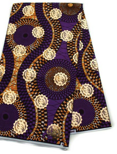Purple, Brown, and Gold Adinkra Symbol Ankara