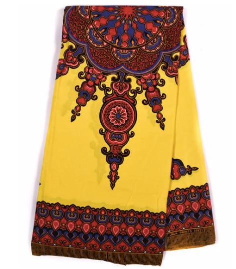 Dashiki - Angela Print 6 Yards - Yellow