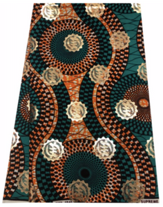 Teal Green, Brown, Orange, and Gold Adinkra Symbol Ankara