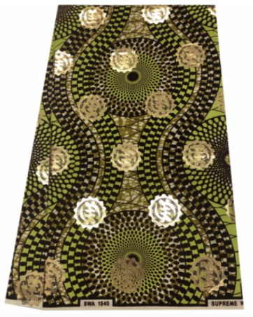 Lime Green, Brown, and Gold Adinkra Symbol Ankara