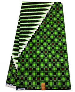 Green, Black, Brown, and White Checkered Print Ankara