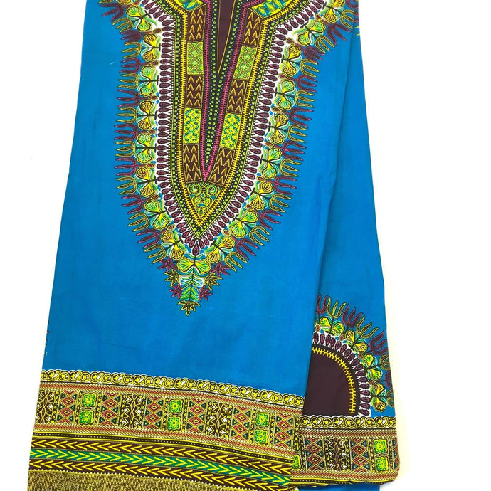Dashiki - Angela Print 6 Yards - Turquoise