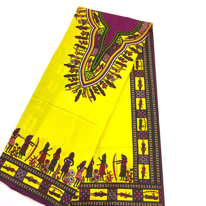 Dashiki - Angela Print Panel - Yellow