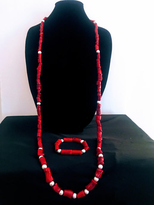 Nigerian Coral Bead Jewelry Set - Men's 06