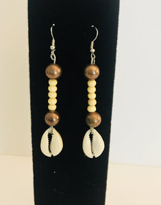 Cowrie Shell and Bead Earrings - CB2