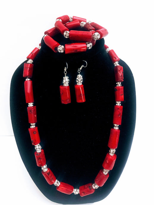 Nigerian Red Coral Bead Jewelry Set - 14
