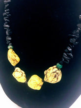 Yellow Howlite and Black Obsidian Necklace and Bracet Set