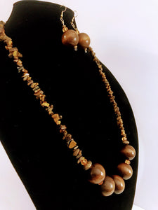 Natural Wood and Tiger Eye Bead Necklace