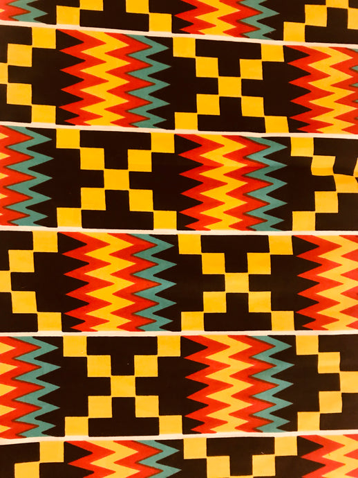 Yellow, Red, Black, and Blue Kente Print