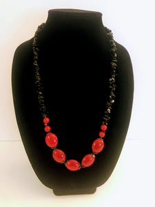 Black and Red Obsidian Necklace