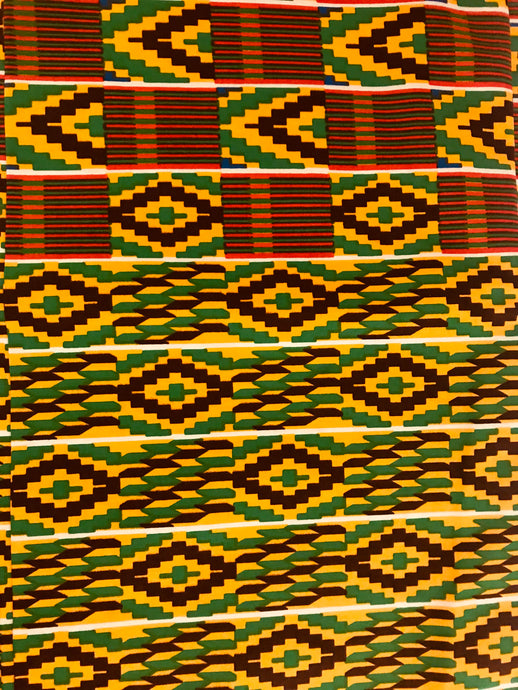Yellow and Green Kente Print