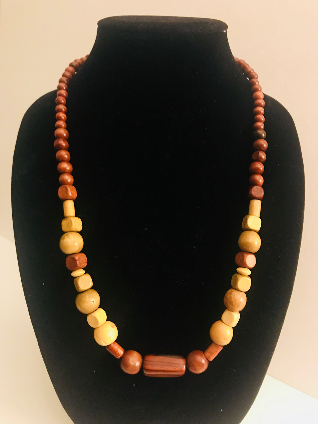 Chunky Wood Bead Necklace - 02