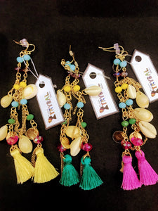 Gold-Tone Cowrie Shell and Tassel Drop Earrings