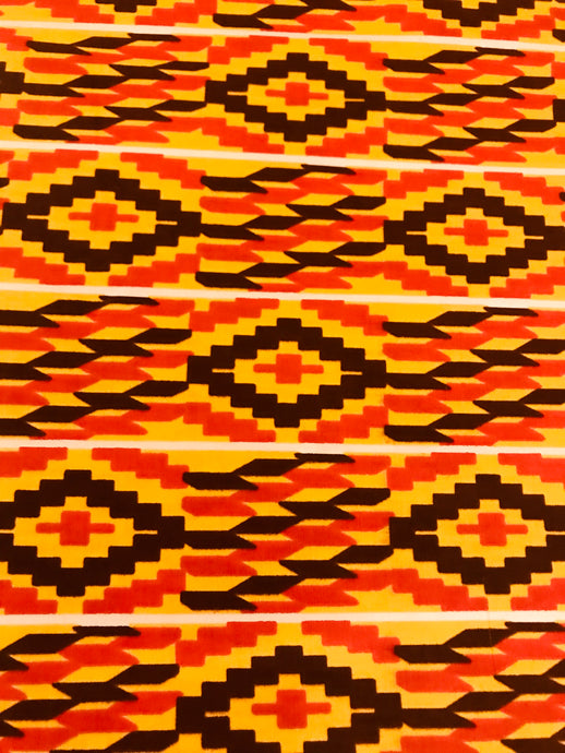 Yellow and Orange Kente Print