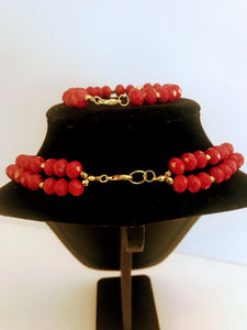 Nigerian Red Coral Bead Jewelry Set - 02