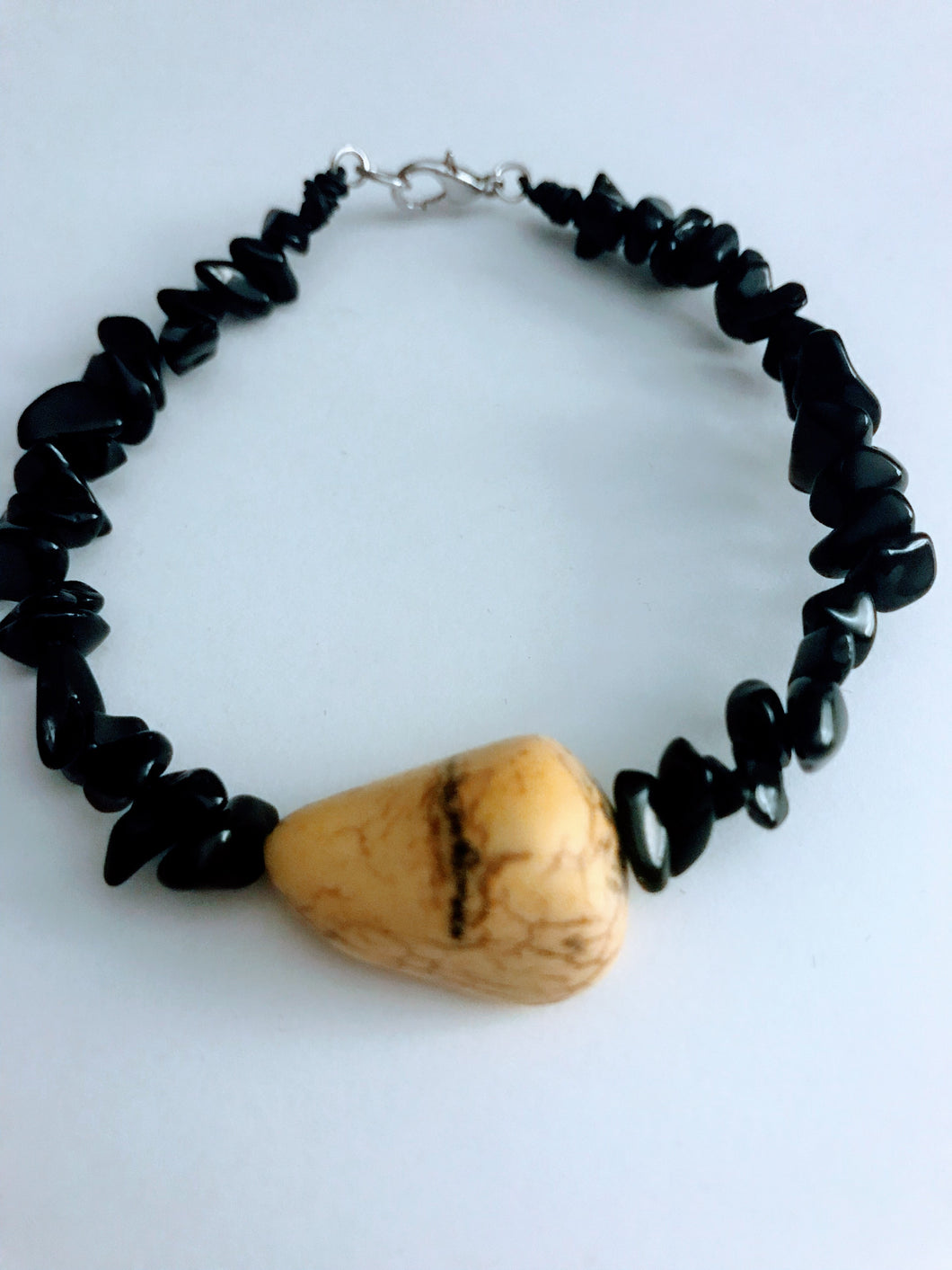 Yellow Howlite and Black Obsidian Bracelet