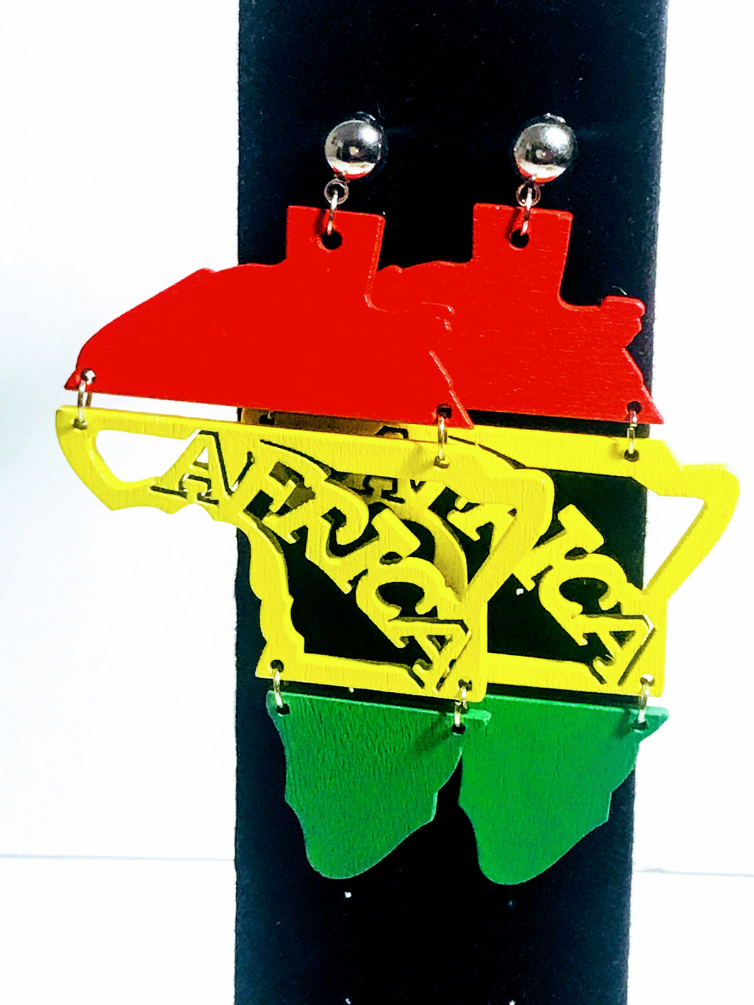 Red, Yellow, and Green Africa Earrings